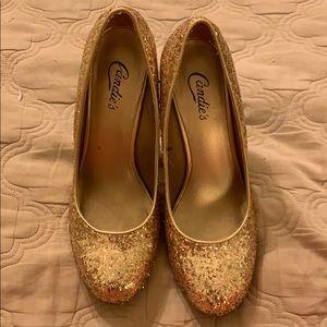 Candies Gold Sparkle Heels